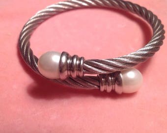 Bracelet, Silver Tone Twist Rope Bracelet with Pearl Ends