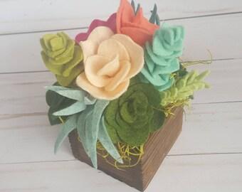 Felt succulent and flower arrangement in a wood planter box, succulent arrangement, felt succulent garden, felt succulent decor