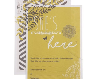 You Are My Sunshine - Baby Girl Birth Announcement Cards