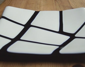 Vanilla cream and black fused glass dish