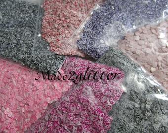 Printed matte chuncky hexagon nail art glitters in 2mm variety pack