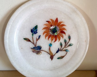 Small Vintage Soapstone Floral with Mother of Pearl Inlay Plate