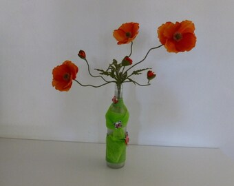 Vase with artificial flowers, glass vase, decorative object with artificial flowers, FloraFcreations