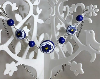 Indigo flowers necklace in fimo