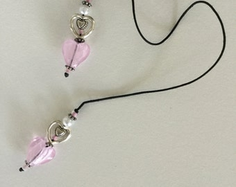String Beaded Bookmark Pink