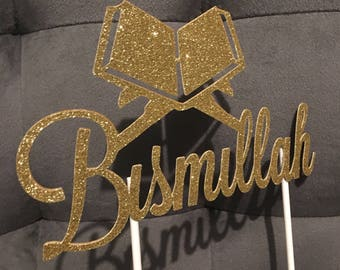 Bismilllah Cake Topper | Quran Party | Islamic Graduation | Gold or Silver Glitter | Islamic Party Decor | Ameen | Hifz Hafidh | Mushaf
