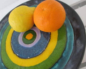 artistic plate, decorative ceramic plate, colorful tray, ceramic platter appetizer, pottery handmade, decorative tray, serving plate