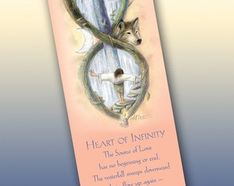 Heart of Infinity Bookmark - Bookmarker - Bookmarking - Bookmarks for Books - Book Mark - Reading Bookmark - Wolf Art - Dove Art - Moon Art