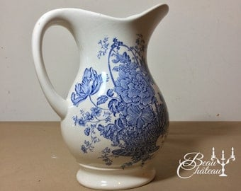 Vintage Crown Devon Fieldings Staffordshire Blue & White Floral Jug Vase