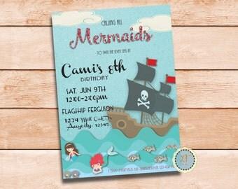 Mermaid Ship Party Invite