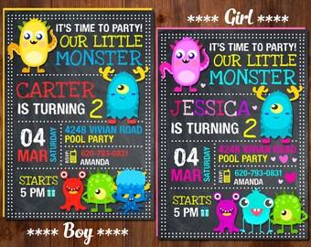 Monster Birthday Invitation, Monster Invitation, Monster Party, Little Monster Invitation, Boy Monster Invitation, Girl Monster Invitation