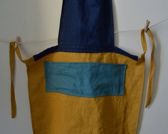 Yellow & Blue Linen Apron