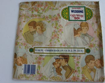 Vintage Gift Wrap Paper 1970s Bridal Wedding Shower 2 NEW sheets Bridal Shower PaperCraft Flowers Scrapbooking Craft Gift Bride Groom Groovy