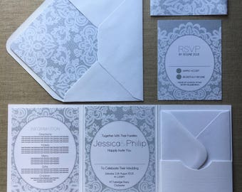 Lace Printed Wedding Invitation Folder (Pocketfold) with Matching RSVP