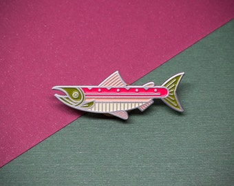Sockeye Salmon Fish Enamel Lapel Pin Badge // Gift for Fly Fisherman Fishing Angler PNW Pacific Northwest Trout