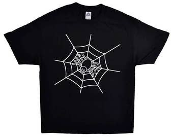 White Spider Web Net On A Short-sleeve T-shirt 100% Cotton