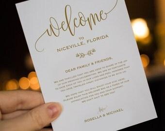 Guest Welcome Note Wedding Agenda Wedding Itineraries