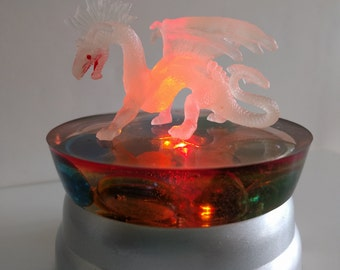 Night Glow-in -the-dark Dragon resin 3 LED multicolored Lamp battery operated