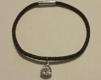 Swarovski Crystal Charm on a Leather Bracelet, Black Leather Bracelet