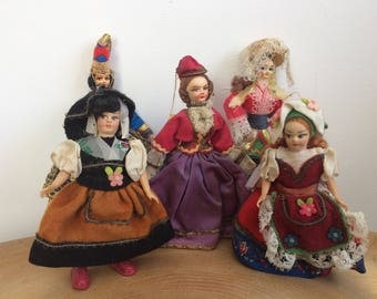 Five Pretty Ladies - Vintage European, Italian Traditional Folk Costume Dolls - painted cloth faces.