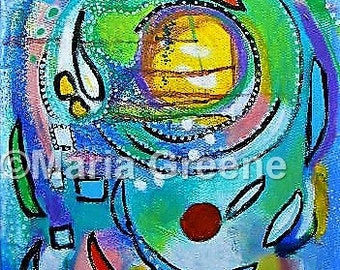 """Original abstract art, painting, colorful art, acrylic painting 18x24"""""""
