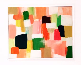 abstract colorful landscape painting framed original canvas art