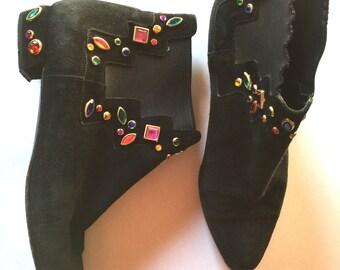Vintage Stuart Weitzman Black Suede Studded Women's Ankle Boots