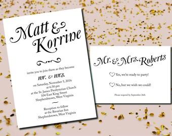 Simple Romantic Wedding Invitation & RSVP