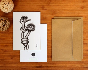 Card / postcard - black and white Illustration, drawing the black ink ballpoint pen - Portrait of two ostriches