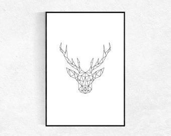 Geometric Deer Print, Scandinavian Art Print, Nordic Print, Black And White, Minimalist, Geometric Poster, Black And White