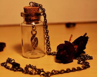 Air totem, dangle charm glass bottle/vial pendant, antique bronze coloured chain, symbolic, unique  gift