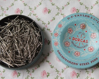 Vintage Dorcas Tin & Dressmakers' Steel Pins/D.F. Taylor and Co LTD/ Dress Making/ Sewing/ Haberdashery (002Y)