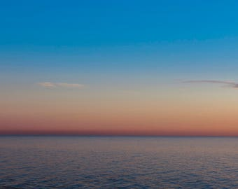 Pastel Sunset Ocean Landscape Photography, Sunrise Pastel Sea Photo Print, Beach House Decor, Beach at Sunset, Beach Photography, Serene Art