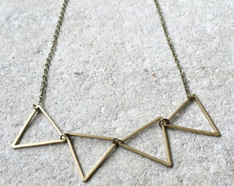Triangle Necklace, Triangle stacked necklace, Geometric necklace, Brass necklace