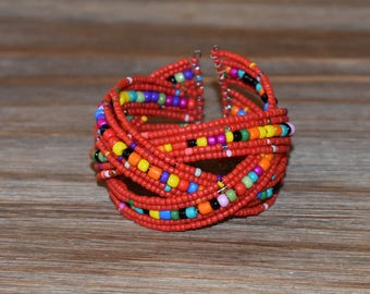 Multi Colored Beaded Bracelet | Handmade Beaded Bracelet | Red Beaded Cuff Bracelet