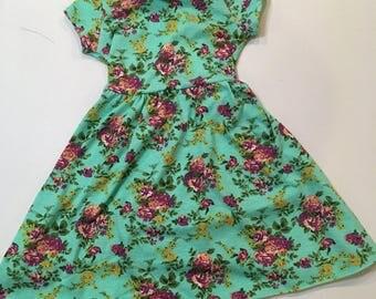 Play-All-Day Dress- Aqua Floral