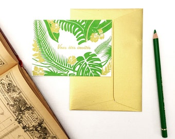 Lot of 10 invitations jungle, tropical card, printed by hand