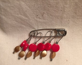 Red and Gold Mod Stitch Marker