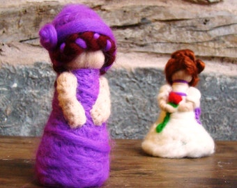 felted Steiner flower, Waldorf felted doll, mini felted doll, Foxglove fairy, foxglove pixie, purple worry doll, felted flower baby, Waldorf