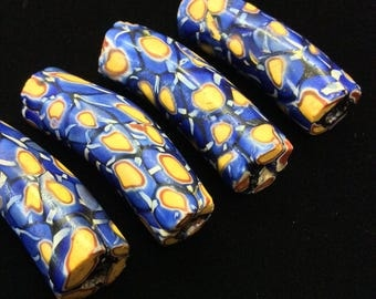 4 Blue and Yellow Millefiori Elbow Trade Beads