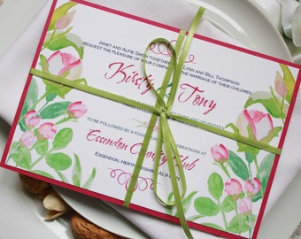 Hand Painted rosebud Wedding Invitations Set - Sample Set + Voucher