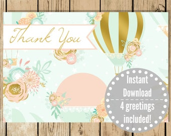 Printable Greeting Card Set - Pink Gold Balloon - Thank You - Birthday - Feel Better - Congratulations - Shower - Hot Air - INSTANT DOWNLOAD