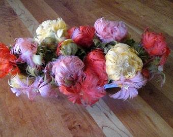 Vintage Millinery Feather Flowers Art Deco Arrangement - Fascinating Color!