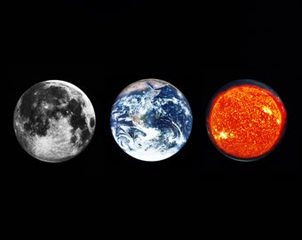 Three Large Planet Pin Badges - Gift Set - Moon Earth Sun Badge - 58mm