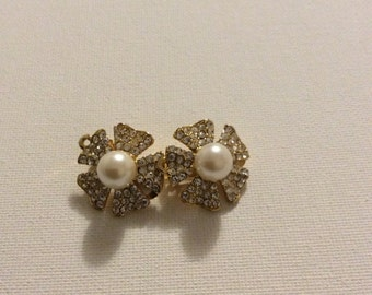 Clip Earrings With Faux Pearl and Rhinestones