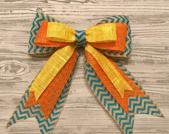 Spring burlap bow, Easter wreath bow, chevron burlap, Spring wreath, yellow, orange, turquoise, wreath bows, Spring bow
