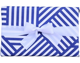 Gift Wrap Geometric ZigZag Navy and White