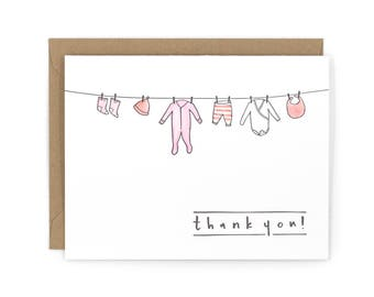 Baby Thank You Letterpress Card - Hand Watercolored