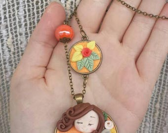 Necklace girl spring fimo/polymer clay little girl spring necklace