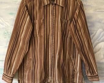 Women's Corduroy Brown Striped Jacket with zipper Classic Blazer Medium Size